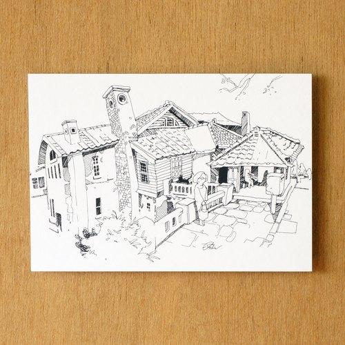 【一色】系列手繪風景明信片『台灣 ‧ 北投溫泉博物館』
