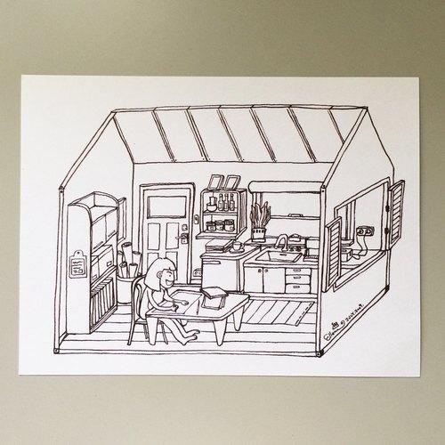 明信片黑白系列- 愛倫猴工作小木屋 (送小貼紙)