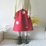 粉紅泡泡、白白山影、藍色星球紅色及膝裙 ★