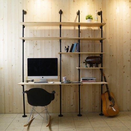 復古風輕工業水管書桌/多功能組合書架書桌/置物架