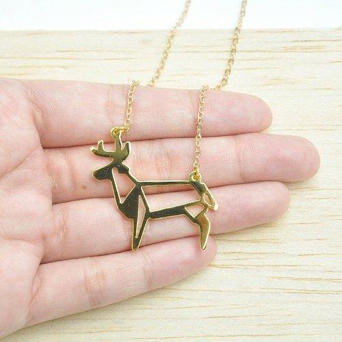 摺纸麋鹿黄铜项链