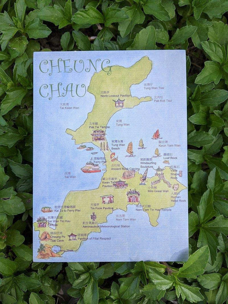 手绘明信片 – 香港离岛长洲地图