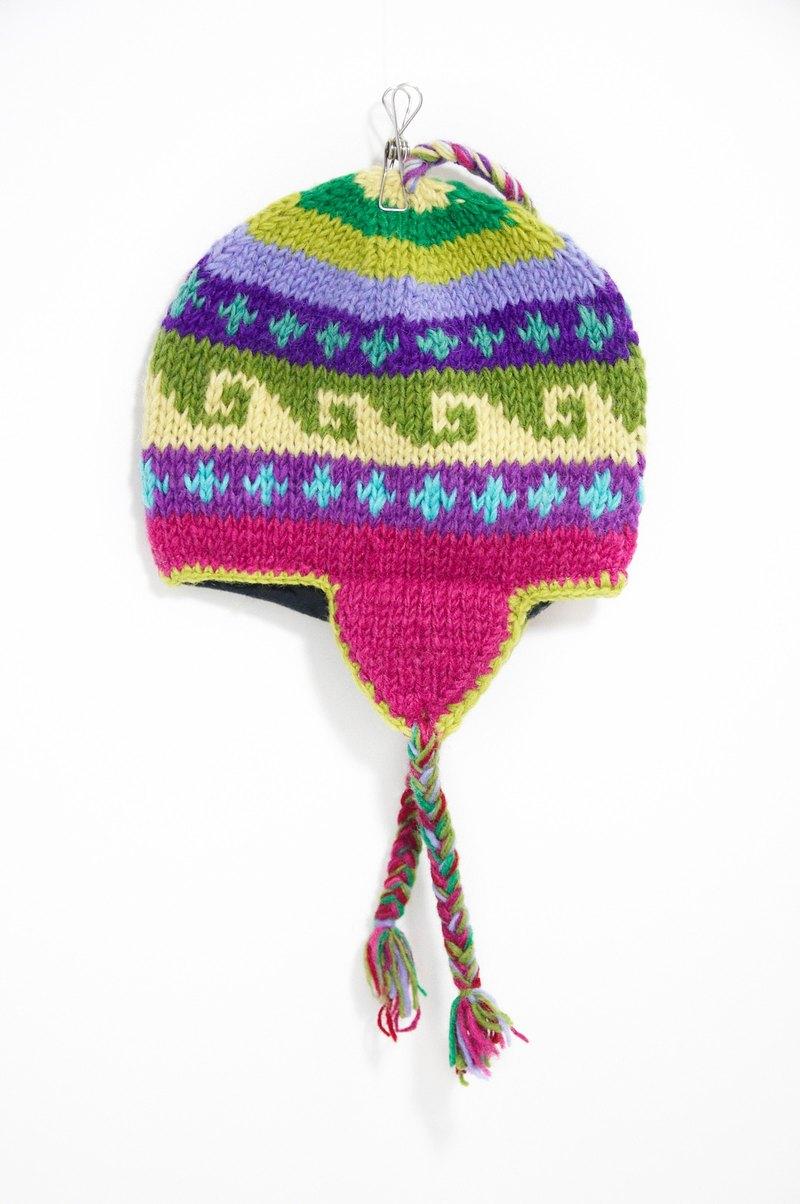 手工编织纯羊毛帽/飞行毛帽 / 毛线帽 - 春天色系图腾