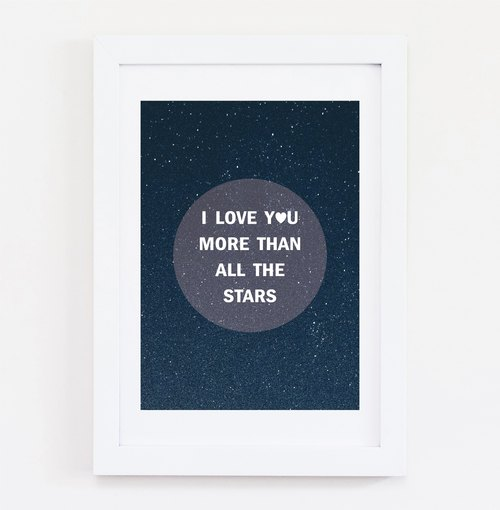 I LOVE YOU MORE THEN ALL THE STARS 可客製化 掛畫 海報