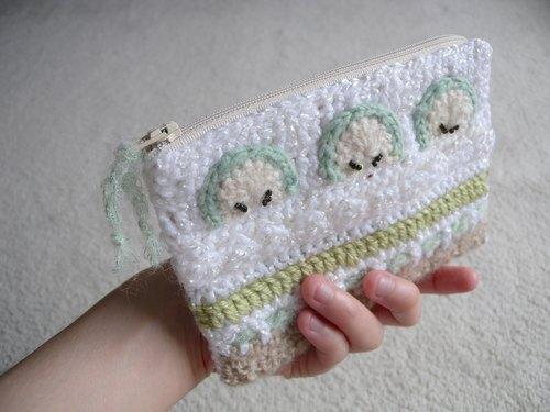 手工钩针编织手机袋/化妆包/拉链袋-青苹果蛋糕口味