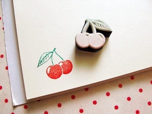 apu手工橡皮章 可爱樱桃印章