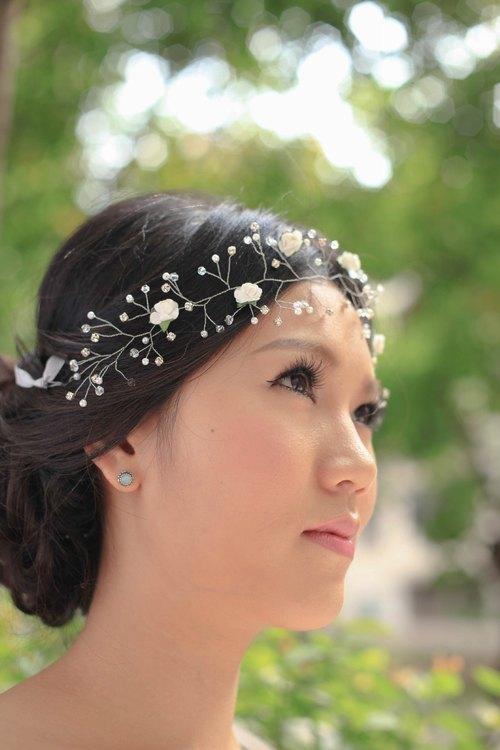 白玫瑰新娘头饰, 白色花环