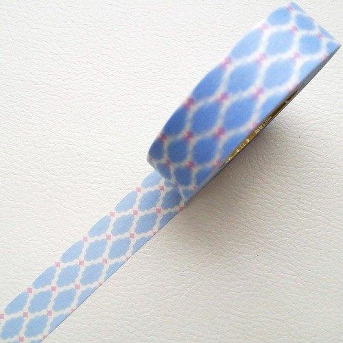 NICHIBAN Petit Joie Masking Tape 和紙膠帶【粉藍花磚  (PJMT-15S012)】