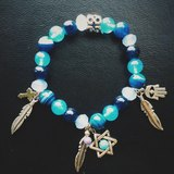 「藍色系玉石-星星羽毛吊飾」