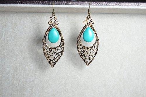 新疆绿松石孔雀眼设计耳环-金属线/水晶