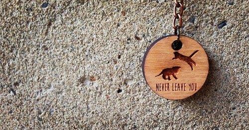 【Never Leave You-毛小孩是家人,家人不離不棄-貓咪篇】山毛櫸木設計款鑰匙圈