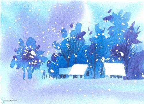 """圣诞卡片""""疗愈系树林系列1-112""""水彩手绘限量版明信片/贺卡"""