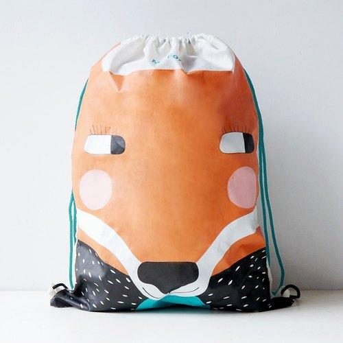 UPICK原品生活 原创印花情侣运动束口袋抽绳双肩背包收纳袋 狐狸