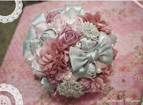 新娘 婚帶 緞帶花球 絲帶 閃石 珍珠 玫瑰 捧花 多色可定製