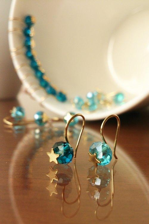 是誰挖掘了水晶洞~小巧可愛玻璃水晶兩用耳環~藍水晶系列