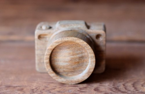 手工木製微型相機▣ 名片照片夾