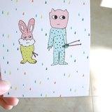 兔子和鼓人明信片(四個顏色)