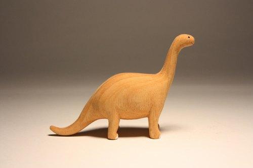 疗愈系木雕小动物_小腕龙brachiosaurus (原木手工雕刻)