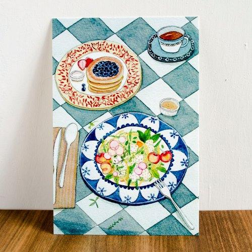 《水彩手绘插画》名信片-食物沙拉