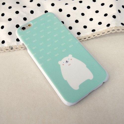 香港原创设计 湖水绿色可爱北极熊图案 iphone 6/6s , iphone 6/6s