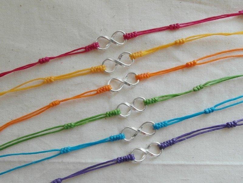 ~米+熊~ 925 純銀 VS 蠶絲蠟線 編織手鍊 細手鍊 (愛無限 8字款) - 米+熊 手工 雜貨鋪 | Pinkoi