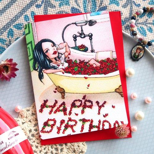 【Pin】雜誌封面祝福│印刷水彩插畫│生日卡片│附自選顏色信封