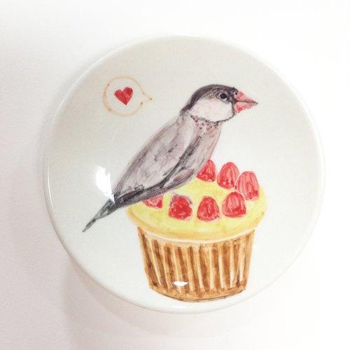 文鸟与杯子蛋糕 - 生日手绘小碟