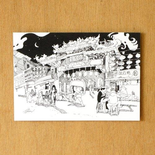 【一色】系列手绘风景明信片『台湾 基隆庙口』
