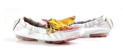 时尚雅痞 抽象油画风格柔软小羊皮乐福鞋 白色 当日出货 女鞋 寺孝良品