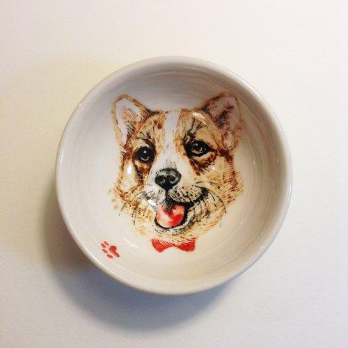 手绘小茶杯-柯基犬