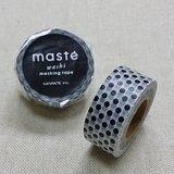 日本 maste 和紙膠帶 Basic 限定系列【水玉點點/黑 (MST-MKT40-BK)】