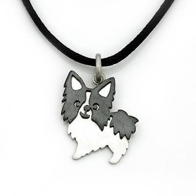 香港设计 动物系列 蝴蝶犬 925纯银吊坠连黑色皮绳