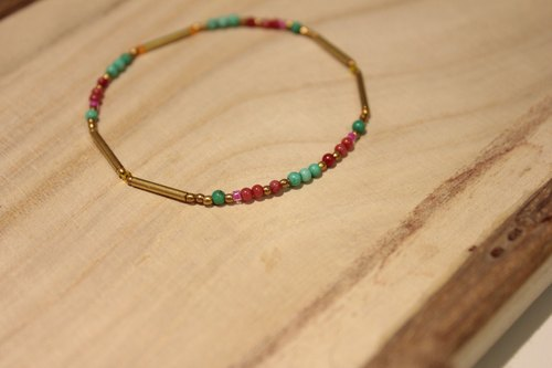 ◆hippie◆ morocco│摩洛哥 綠松紅珊瑚天然石極細質感串珠手鏈