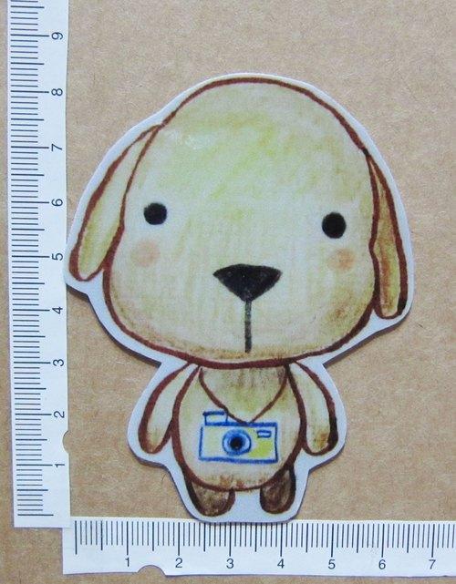 手繪插畫風格 完全防水貼紙 狗狗攝影師 拉不拉多