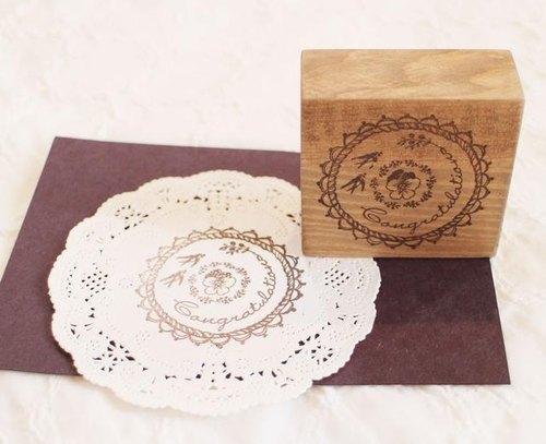 三色堇+燕子 祝賀用 木頭印章組