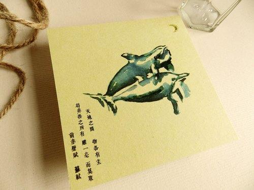 手绘动物明信片-海豚 野生动物