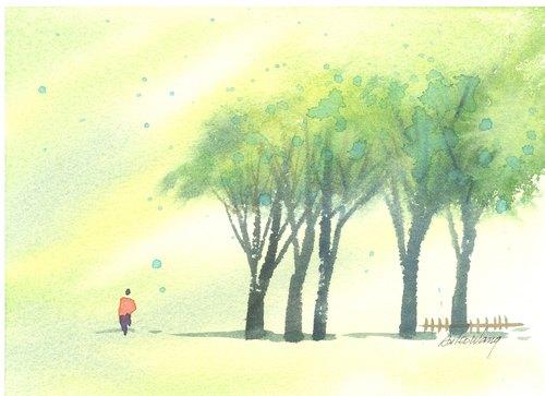 「疗愈系树林系列1-33」水彩手绘限量版明信片/贺卡
