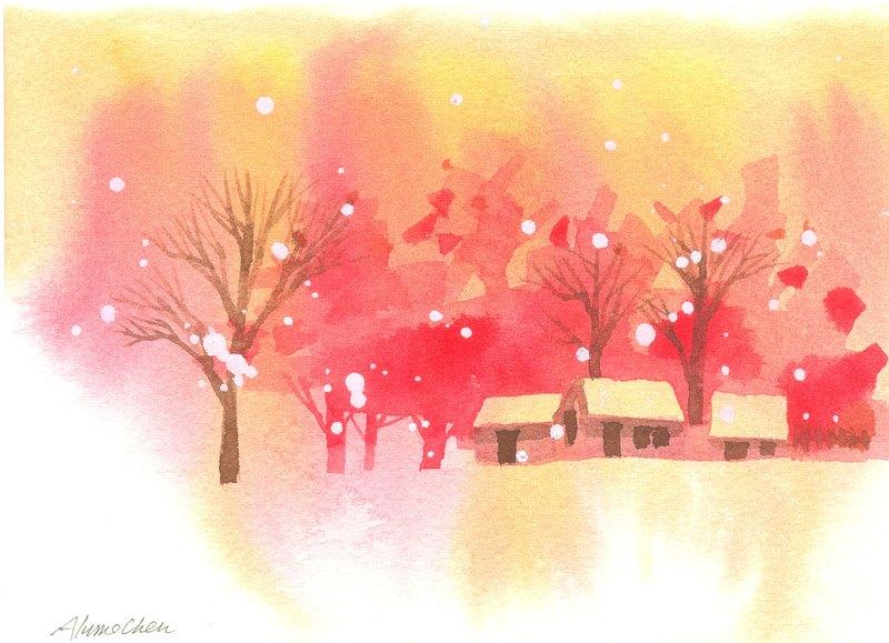 圣诞卡片「疗愈系树林系列1-88」水彩手绘限量版明信片/贺卡