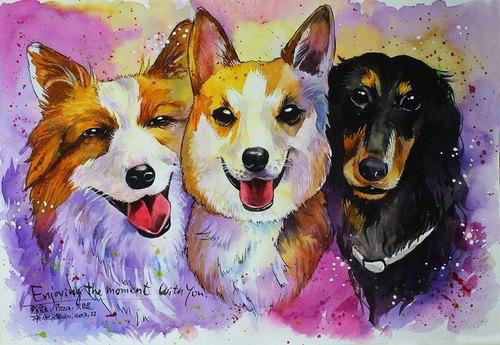 手绘的方式更增加情感和温度 如果尼也希望用这方式留下宠物可爱的