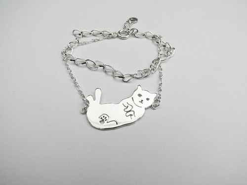 c%手工饰品:: 猫咪露肚肚 (经典动物镂空系列) 手链
