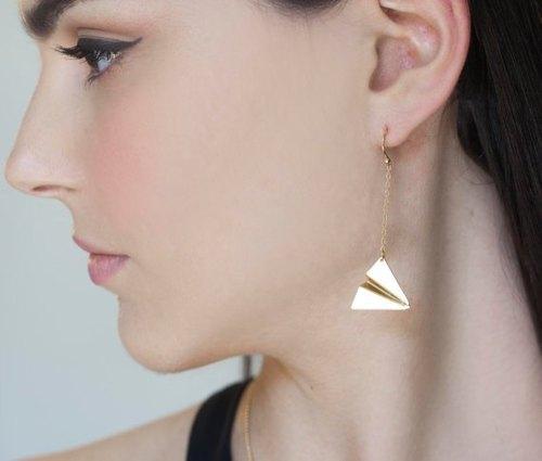 以色列设计师手工饰品 童年纸飞机耳钩式耳环(金,银两色)