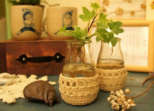 棉麻編織雜貨風小水瓶套(適用雞精瓶、蜆精瓶、四物瓶)