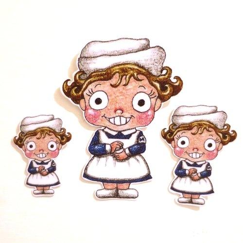 色铅笔手绘傻呼呼公仔娃娃防水贴纸--傻呼呼曼秀雷敦小护士3入(编号4)