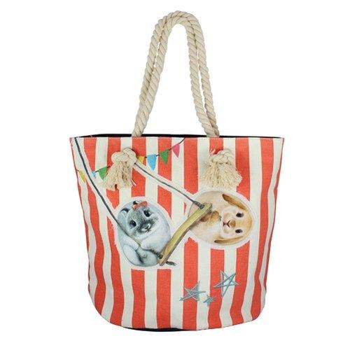 【亨利屋】马戏团系列-帆布水桶包(红条兔子)/