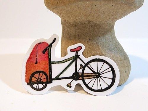 厚質防水貼紙-有載娃娃的敞篷bike