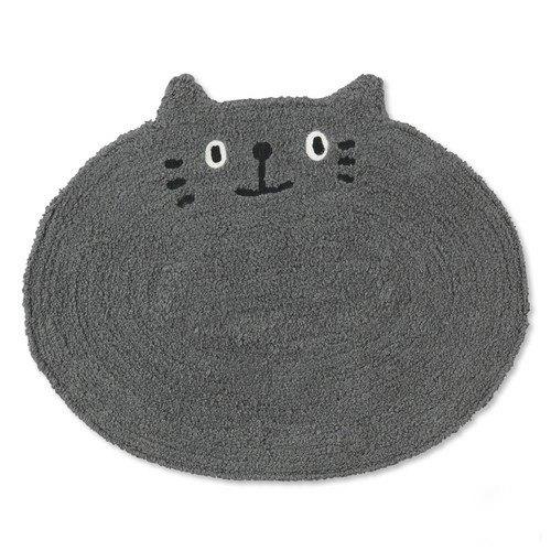 胖嘟嘟大灰猫素色地垫