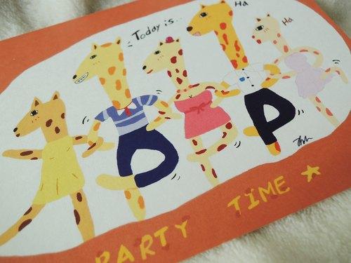 長頸鹿歡樂派對 卡片  明信片
