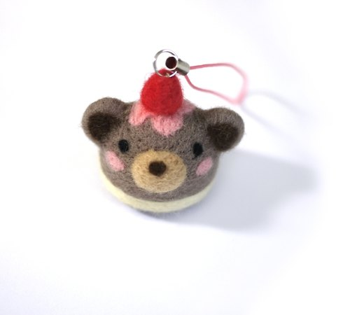 羊毛氈材料包-蛋糕熊熊吊飾(一入)