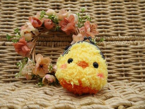 毛线编织动物零钱包 mini口金包-黄小鸭