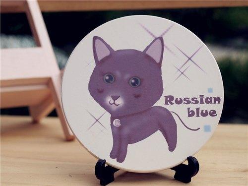 《 NONCOOL‧酷農 》 俄羅斯藍貓 ‧ Q版吸水杯墊